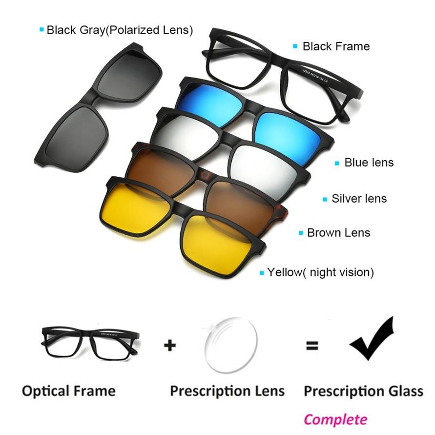 Prescription Glasses 5 in 1 magnetic sunglasses clip on eyeglasses magnetic lens sunglasses Flexible eyeglasses sun glasses african elephant