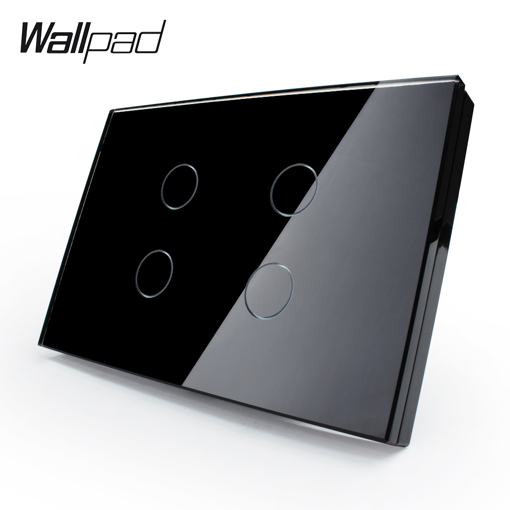 US Standard Wall Switch, 4 Gang Black Crystal Glass Panel, AC 110~250V Touch Sensor Light Switch VL-C304-82 with LED Indicator 2017 smart home crystal glass panel wall switch wireless remote light switch us 1 gang wall light touch switch with controller
