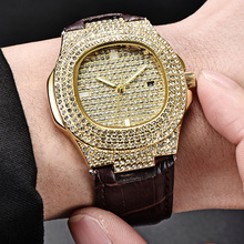 Men Quartz Watch Fashion Bling Casual Ladies Female Gold Crystal Diamond For Women Clock