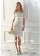 free shipping 2013 new style white lvory Sexy bridesmaid wedding Custom size lace bow knee-length short dinner dress