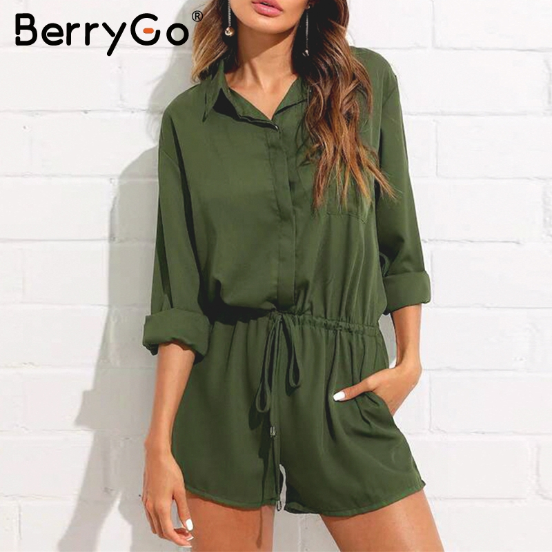BerryGo Casual chiffon women playsuit Black elastic high waist lace up female   jumpsuit   romper Long sleeve ladies short overalls