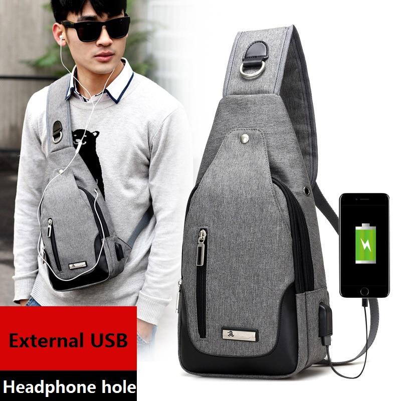 External Usb Charge Backpack Chest Pack Casual Men's Travel Shoulder Bag Crossbody Sacoche Homme Sling Bagpack Women Rucksack