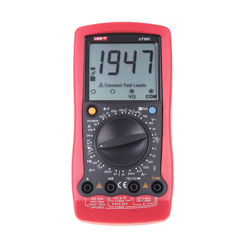 UNI-T UT58C LCD Display Professional General Tester Ammeter Multitester Multimetro LCR Meter Digital Multimeters uni t ut71b professional intelligent lcd digital ac dc current voltage meter usb true rel resistance tester ammeter multitester