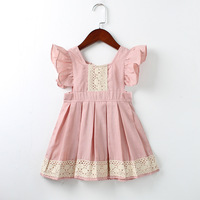 Baby Girls Dress Summer Beach Style Ruffles Lace Backless Dresses For Girls Vintage Toddler Girl Clothing