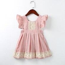 Baby Girls Dress Summer Beach Style ruffles lace Backless Dresses For Girls Vintage Toddler Girl Clothing 1-5Yrs bebe vestidos