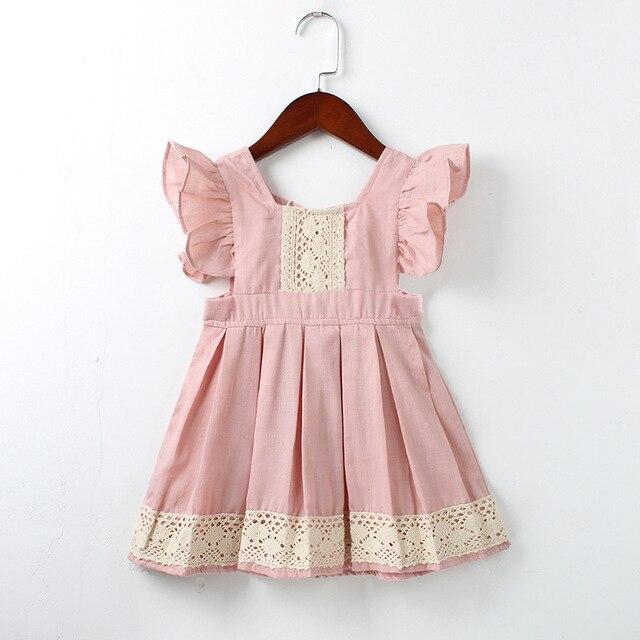 Meninas do bebê Vestido de Verão Praia Estilo ruffles lace Backless Vestidos Para As Meninas Do Vintage 1-5Yrs bebe vestidos de Roupas Da Menina Da Criança