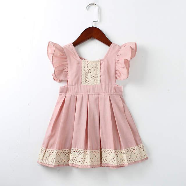 58b5f87e2 placeholder Meninas do bebê Vestido de Verão Praia Estilo ruffles lace  Backless Vestidos Para As Meninas Do