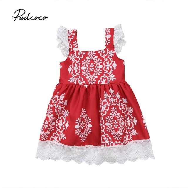 6cba13ac684a4 Pudcoco 2018 été dentelle Tutu fille robes enfants bébé fille princesse  fête concours rouge Tutu robe