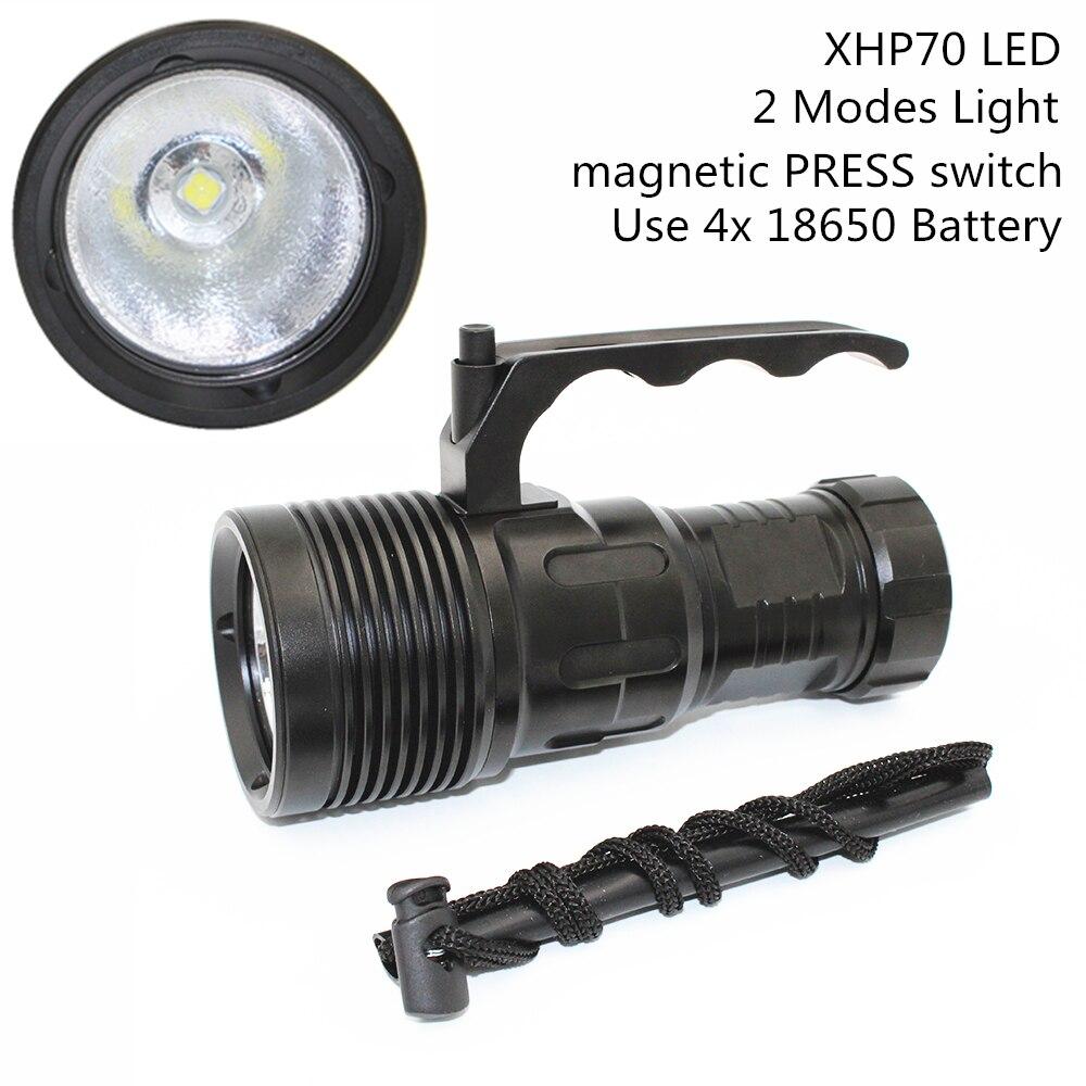 4000лм XHP70 светодиодный фонарик для дайвинга супер яркость свет подводный водонепроницаемый алюминиевый фонарик использование 4 шт 18650 литий ...