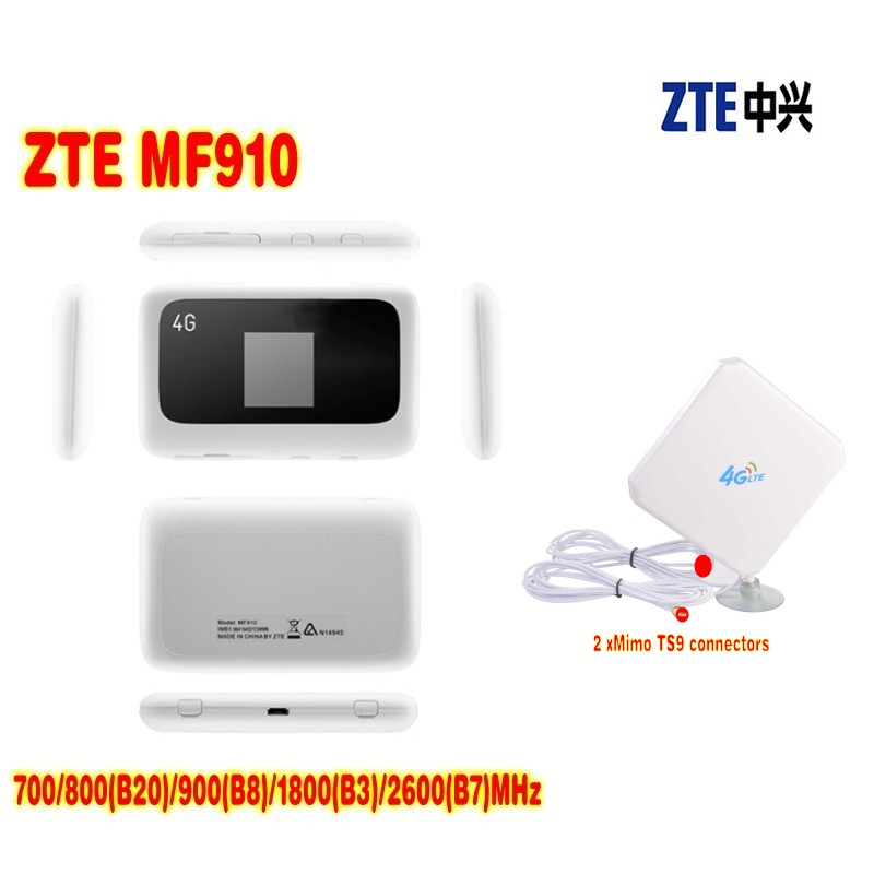 Unlocked ZTE MF910 LTE 4G WIFI Router 700/800(B20)/900(B8)/1800(B3)/2600(B7)MHz+ 35dbi 4G TS9 antenna hot sale new original unlock 150mbps zte mf910 4g wifi router with sim card slot support lte fdd b3 b7 b8 b20