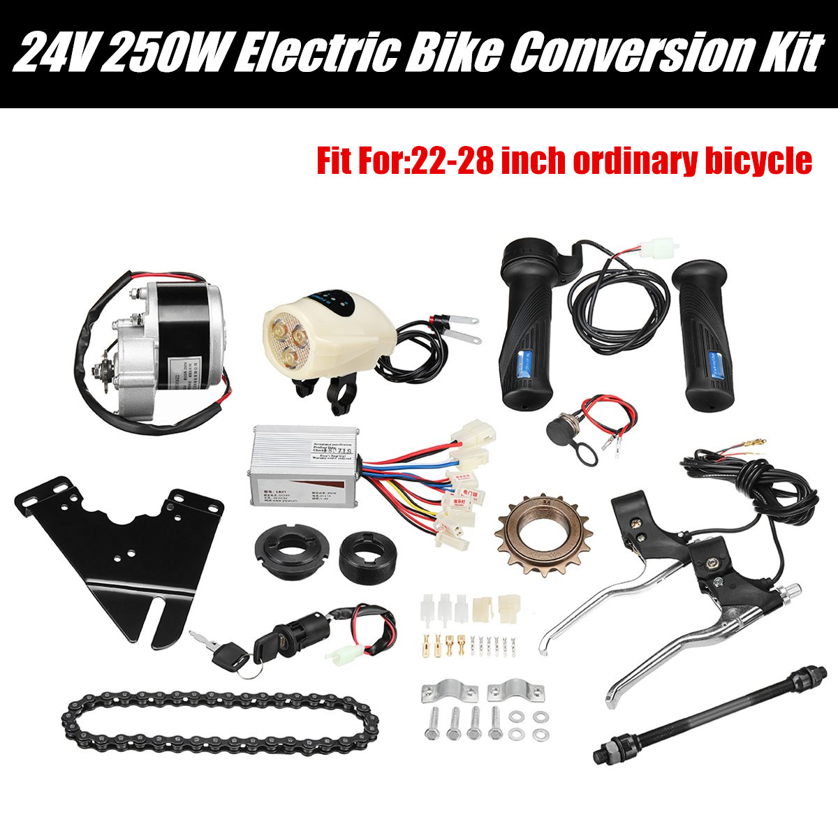 24V 250W Motor Controller Electric Bike Kit Electric Bicycle Conversion Kit for Ordinary Common Electric Bicycle