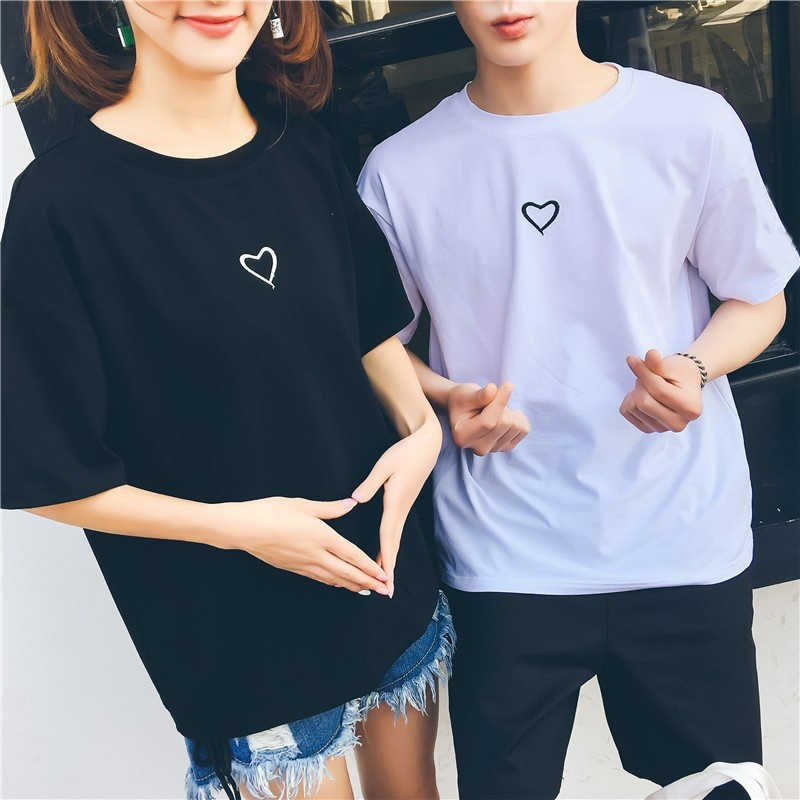 d446b6fb8a ... Simple heart shape print t shirt couple wear t shirt popular Lovers  tops new trendy fashion ...
