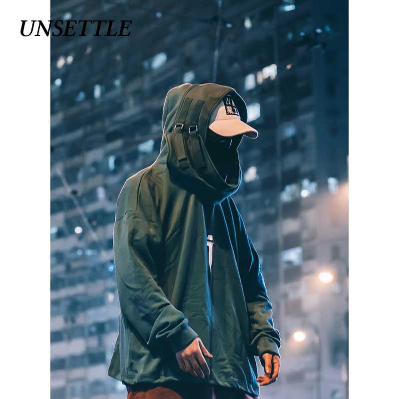 UNSETTLE High neck Fisch mund Pullover japanischen Sweatshirts Männer/Frauen Hoodies oversize Street Hip Hop Harajuku Männlichen Tops
