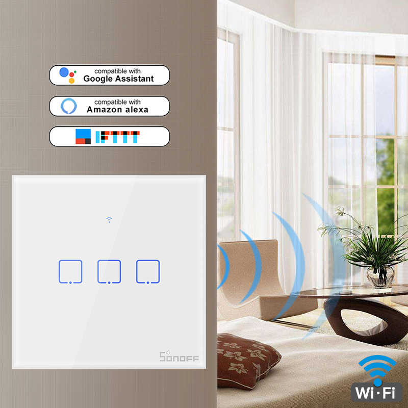 SONOFF T0US TX Wifi inteligentne ścianie włącznik światła Timer 1/2/3 Gang obsługa głosowa/APP/ sterowanie dotykowe współpracuje z Alexa Google Home IFTTT
