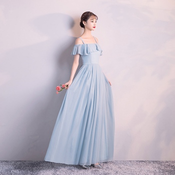 Women Wedding Party Dress  Bridemaid Blue Colour Long Chiffon Back of Zipper