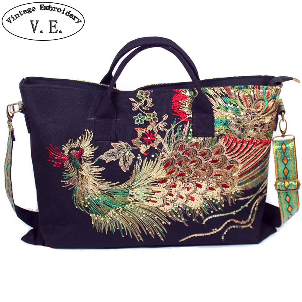 Original Canvas Embroidered Women Handbag National Characteristics Single Messenger Bag Fashion Leisure Crossbody Shoulder Bag