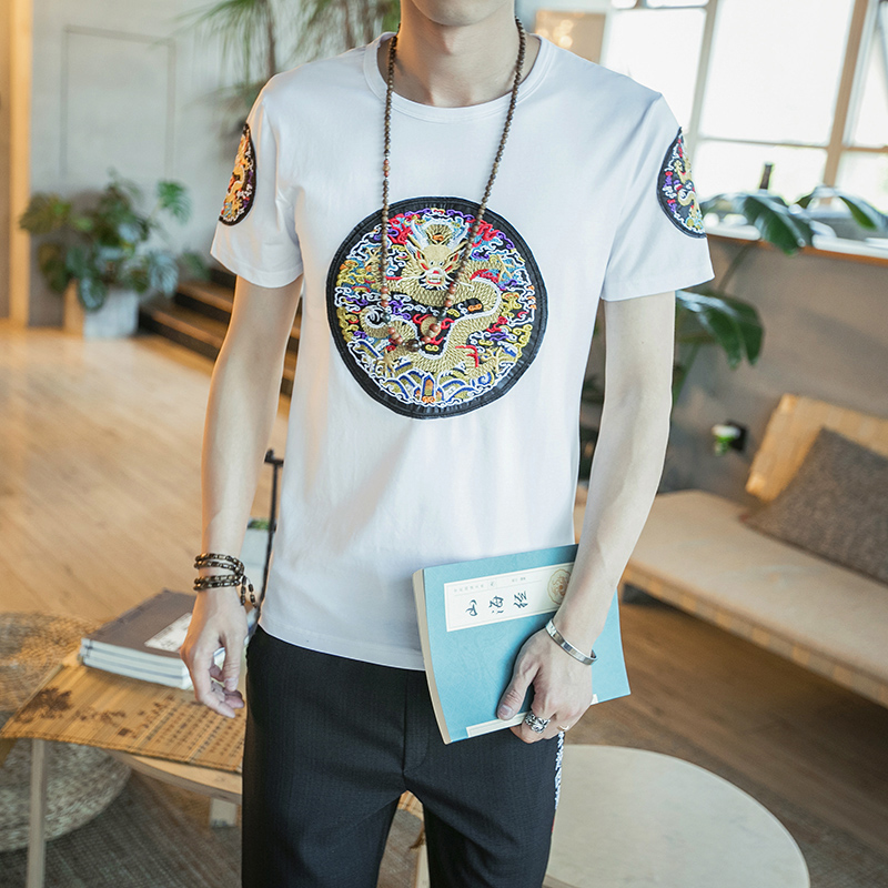 Chinese Style Summer T Shirt Men Fashion Dragon Embroidery Slim Fit Men T-Shirts Short Sleeve Plus Size Casual Tee Shirt Homme