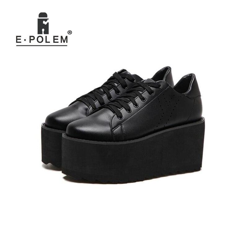 11f580504a1 2018 Fashion Women Thick Bottom Platform Shoes Black White Girls Casual  Harajuku Creepers Shoes Female