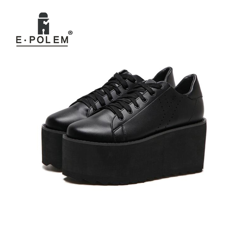 2018 Fashion Women Thick Bottom Platform Shoes Black/White Girls Casual Harajuku Creepers Shoes Female Lace-Up Flats Footwears creepers women shoes black white striped shoes female casual flat platform shoes round toe thick soled ladies shoes