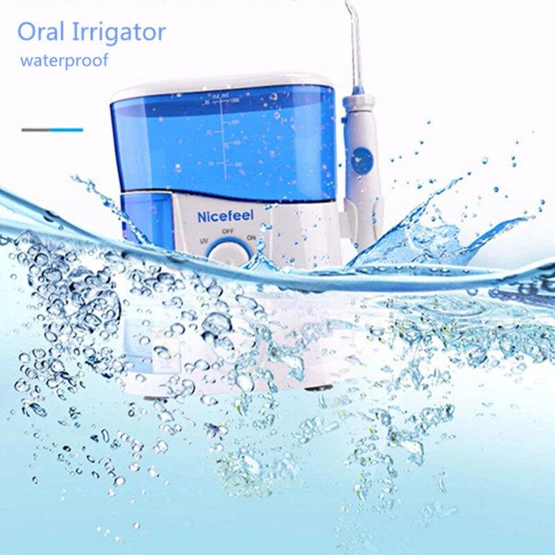 Nicefeel 1000 ML Jet dentaire irrigateur buccal Dentaire Spa Unité Professionnel Floss Oral Irrigator réservoir d'eau 7 pièces Jet Pointe
