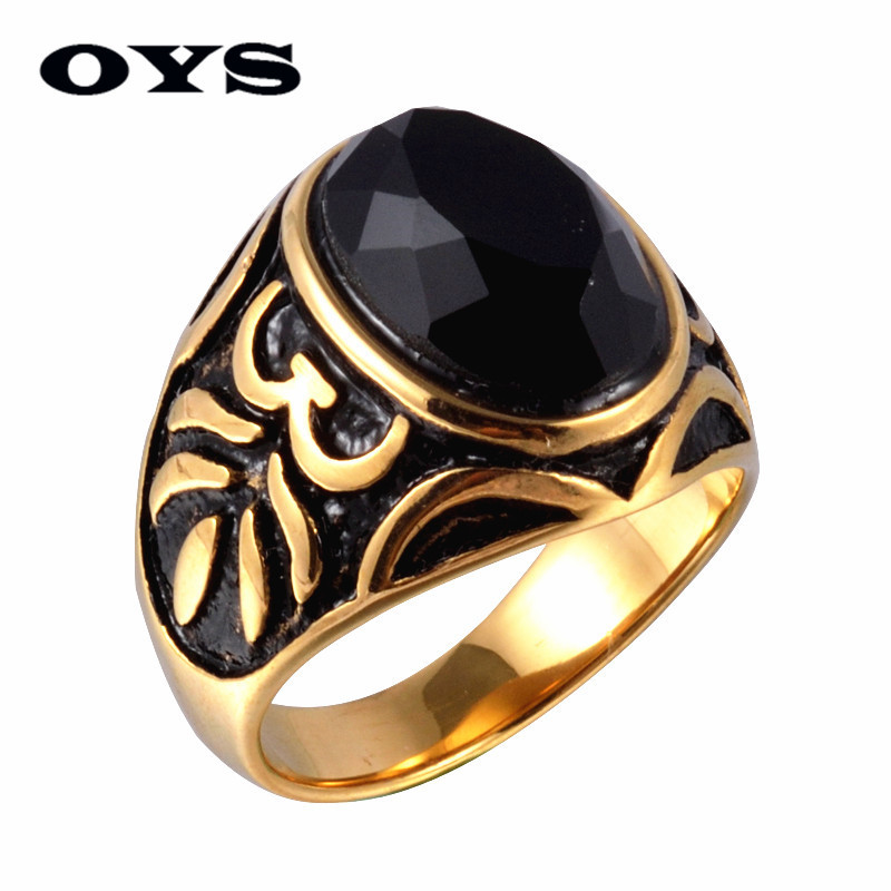 High Quality Men's Ring Black Agate Retro Carving High Polished Stainless Steel Men's Jewelry Silver,Gold Charmimg Ring For Men