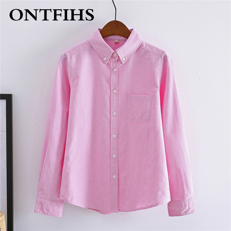 Women blouse shirt long sleeve turn down collar solid pink for Women s turquoise long sleeve shirt
