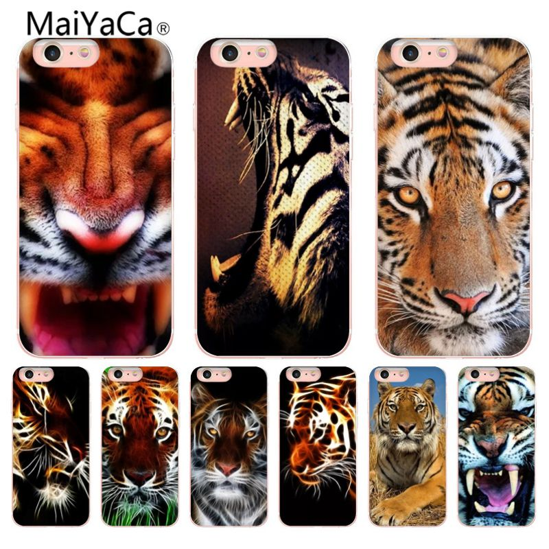 Us 1 21 39 Off Maiyaca Tiger Wallpaper Luxury Phone Case For Iphone X 6 6s 7 7plus 8 8plus 5 5s In Half Wrapped Cases From Cellphones