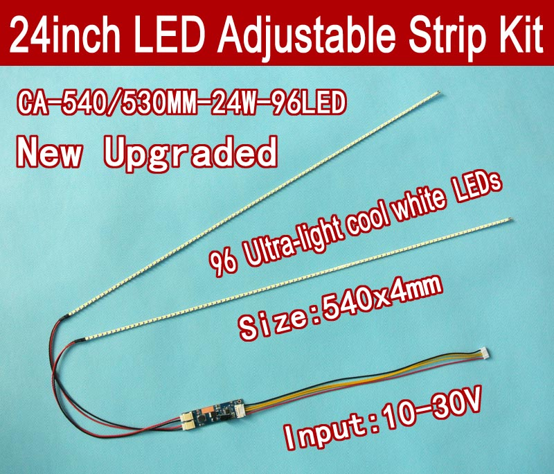 Universal LED Backlight Lamps Update Kit For LCD Monitor 2 LED Strips Support To 24'' 540mm