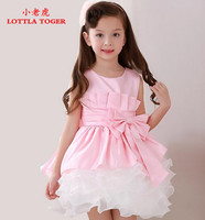 Formal Girl Wedding Dress Pink Tulle Infant Baby Girl Christmas Gown Vestidos Big Bow Birthday Party Baptism Dress With Headwear