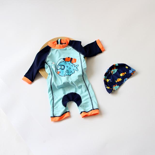 Niños bebés Niños del traje de baño Protector Solar de manga Larga recién nacido de Buceo Surf Trajes de Baño de Aguas Termales de trajes de Baño Trajes de Baño para niños con tapas