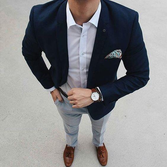 2018 Pantalones azul marino casual Trajes para hombres