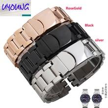 Stalowy pasek ze stali nierdzewnej 17mm czarny srebrny podwójnie głębokie wgłębienia wymiana paska zegarka dla Swatch YRS Watchband + narzędzie