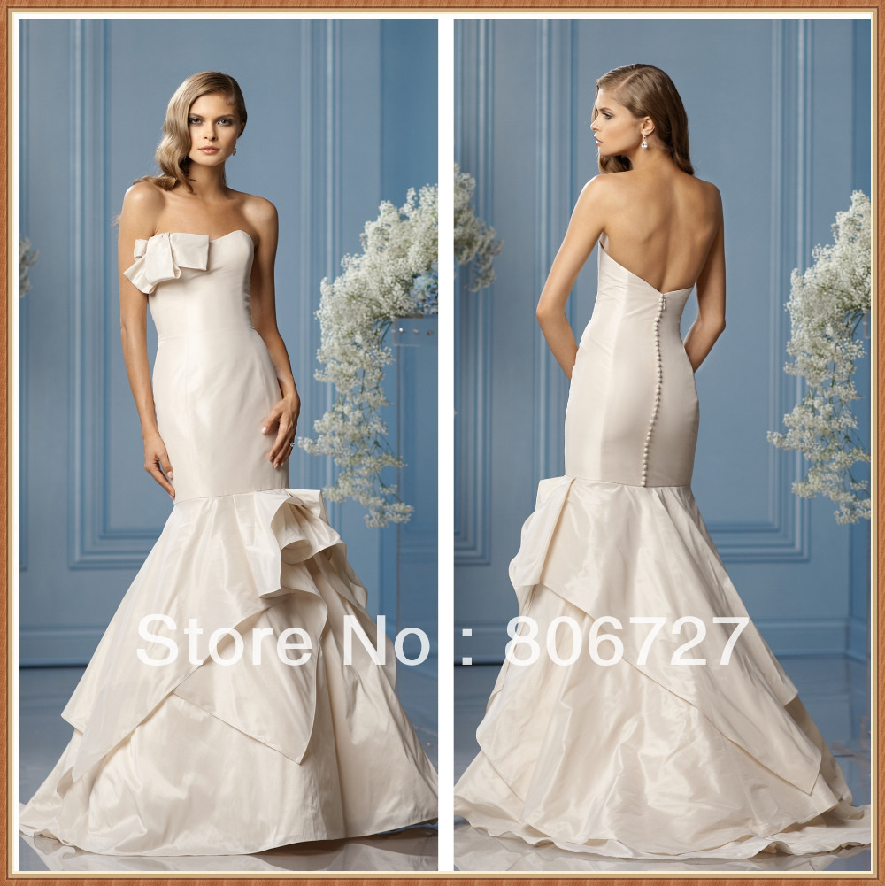 Strapless Low Back Taffeta Mermaid Wedding Dress-in Wedding Dresses ...