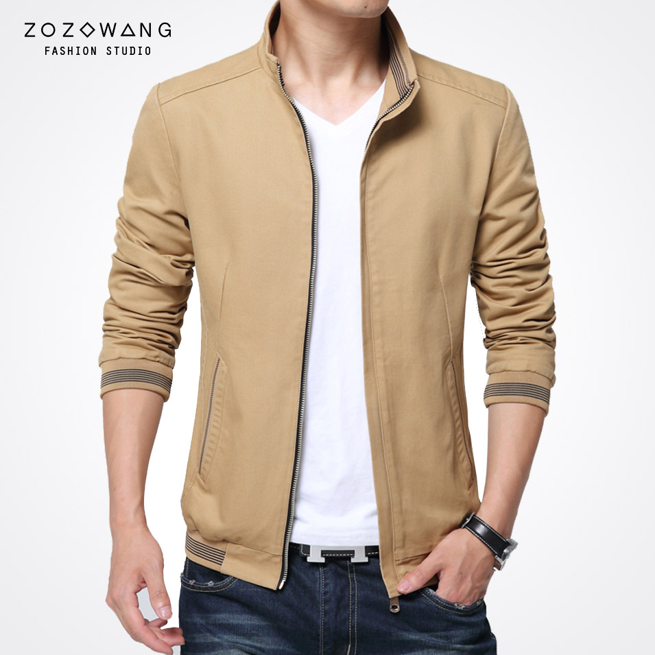 Mens khaki jacket casual - Zozowang Cozy Male Jacket New Stand Collar Coat Men Solid Casual Jacket Men Spring And Autumn