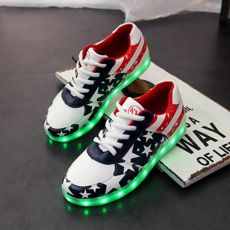 ผู้ใหญ่รองเท้าผ้าใบส่องสว่าง LED Light Up USB ชาร์จรองเท้าเด็กเด็กผู้หญิง Tenis Led Feminino ผู้ชายผู้หญิงเรืองแสงรองเท้าผ้าใบ