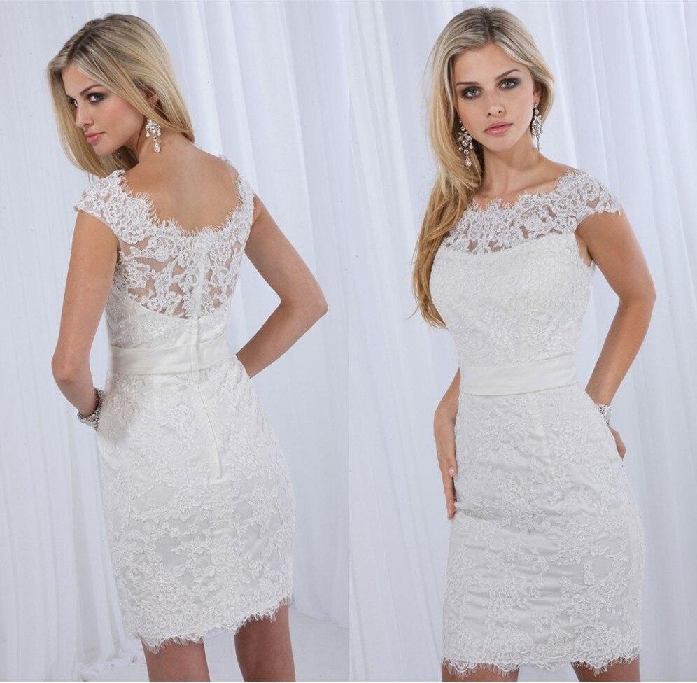 elegant high neck cap sleeves top designer short lace wedding dress popular new special white bridal