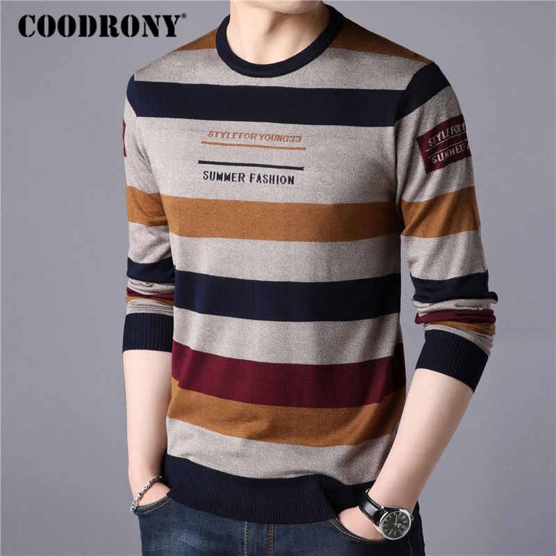 Coodrony 브랜드 스웨터 남자 streetwear 패션 스트라이프 풀오버 남자 니트 셔츠 당겨 옴므 가을 겨울 면화 스웨터 91060