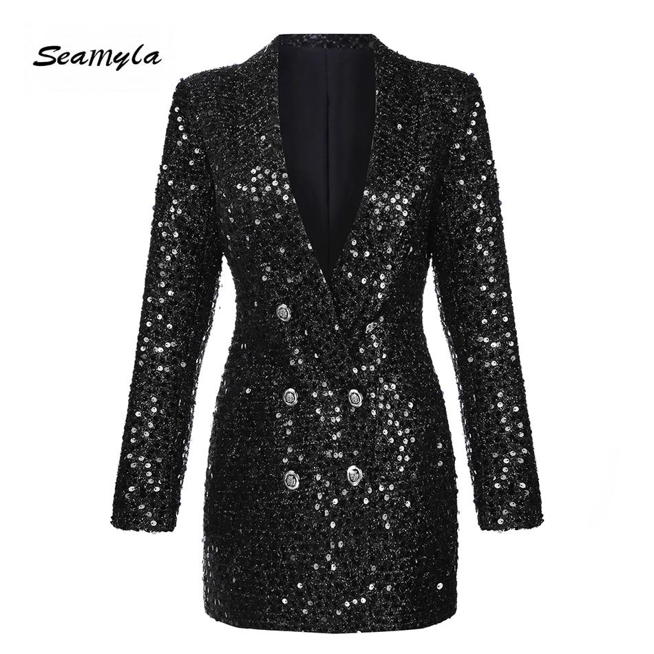 Seamyla אופנה חורף נשים טרייל ומעילים גברת חליפת Slim שחור נצנצים בלייזר חדש ארוך שרוול טור כפתורים כפול Outerwears
