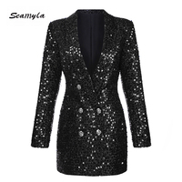 Seamyla Fashion Winter Women Blazers and Coats Lady Suit Slim Black Sequined Blazer New Long Sleeve Double Breasted Outerwears