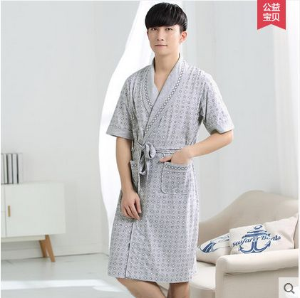 Men Cotton Blend plaid Bathrobe Long Sleepwear with Pockets Male ...