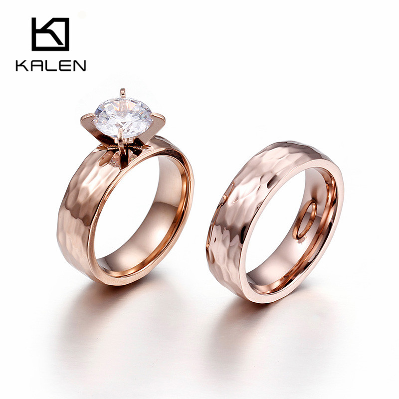 Kalen Romantic Rose Gold Couple Rings For Women Stainless Steel Finger Rings Fashion Engagement Wedding Band Rings Jewelry 2017