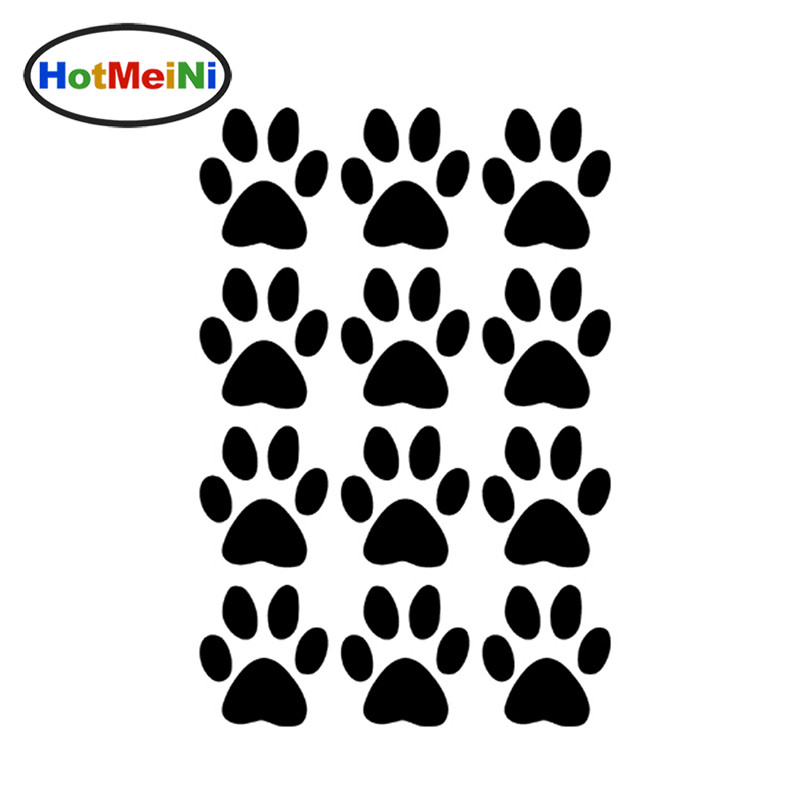 HotMeiNi 11.6*17.5CM Hot Sale Set of 12 Dog Paw Prints Decals Vinyl Car Stickers For Truck SUV Car Window Bumper Laptop racing middle size resident evil decals bumper stickers for car