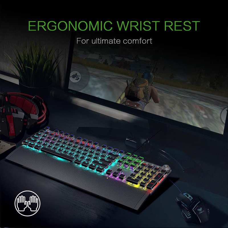 Image 5 - AULA Mechanical Gaming Keyboard Retro Steampunk RGB LED Backlit 104 keys Waterproof for PC Computer Laptop Game Gamer Kyeboard-in Keyboards from Computer & Office