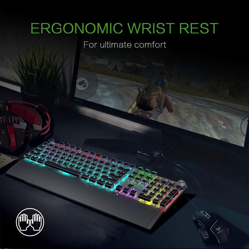 AULA Mechanical Gaming Keyboard Retro Steampunk RGB LED Backlit 104 keys Waterproof for PC Computer Laptop