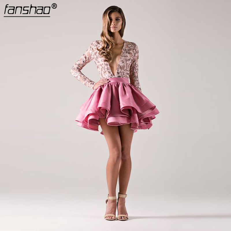 Peach Cocktail Dresses Satin Long Sleeves Deep-V  Lace Ruffles Above Knee Mini Party Plus Size Homecoming Dresses