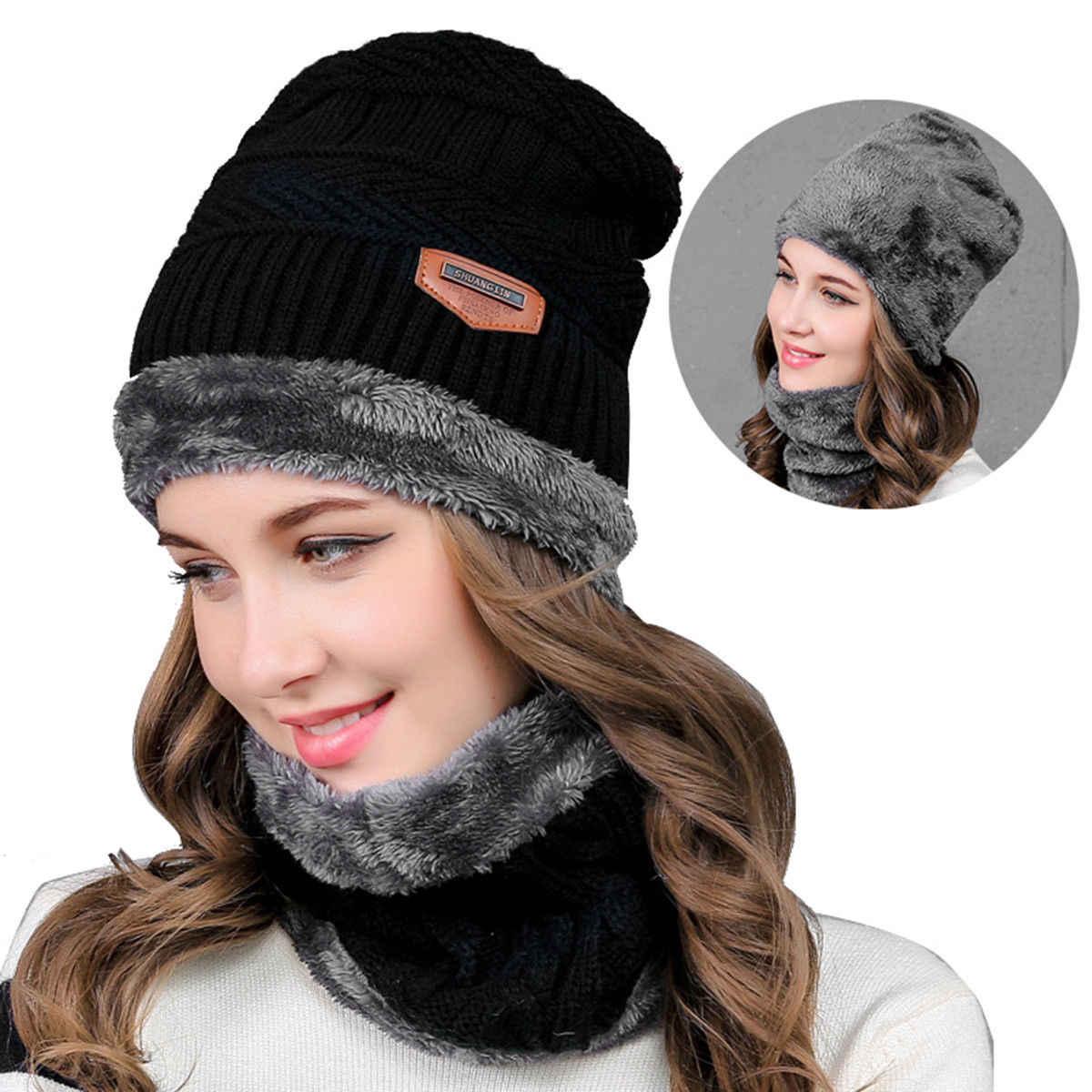 94a610f5717b3 ... Women Men Winter Warm Baggy Beanie Crochet Knit Wool Skull Hat Ski Cap  Scarf Set Black ...