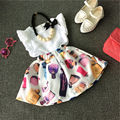 2 шт. Летние Малышей Baby Girl Детская Экипировка Рукавов Топы футболка + Красочные Цветы Юбка Детская Одежда Набор LZ 1-6Y