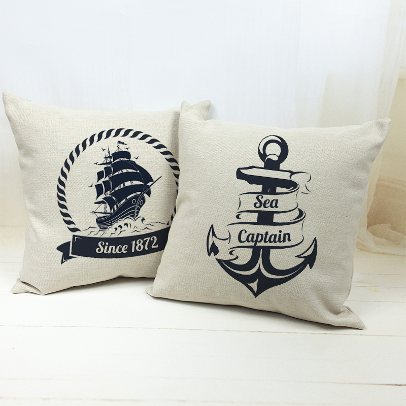 Modern Mediterranean Boat Anchor Natural Linen Cotton Cushion Cover Decorative Sofa Car Chair Cushion Home Store Decoration