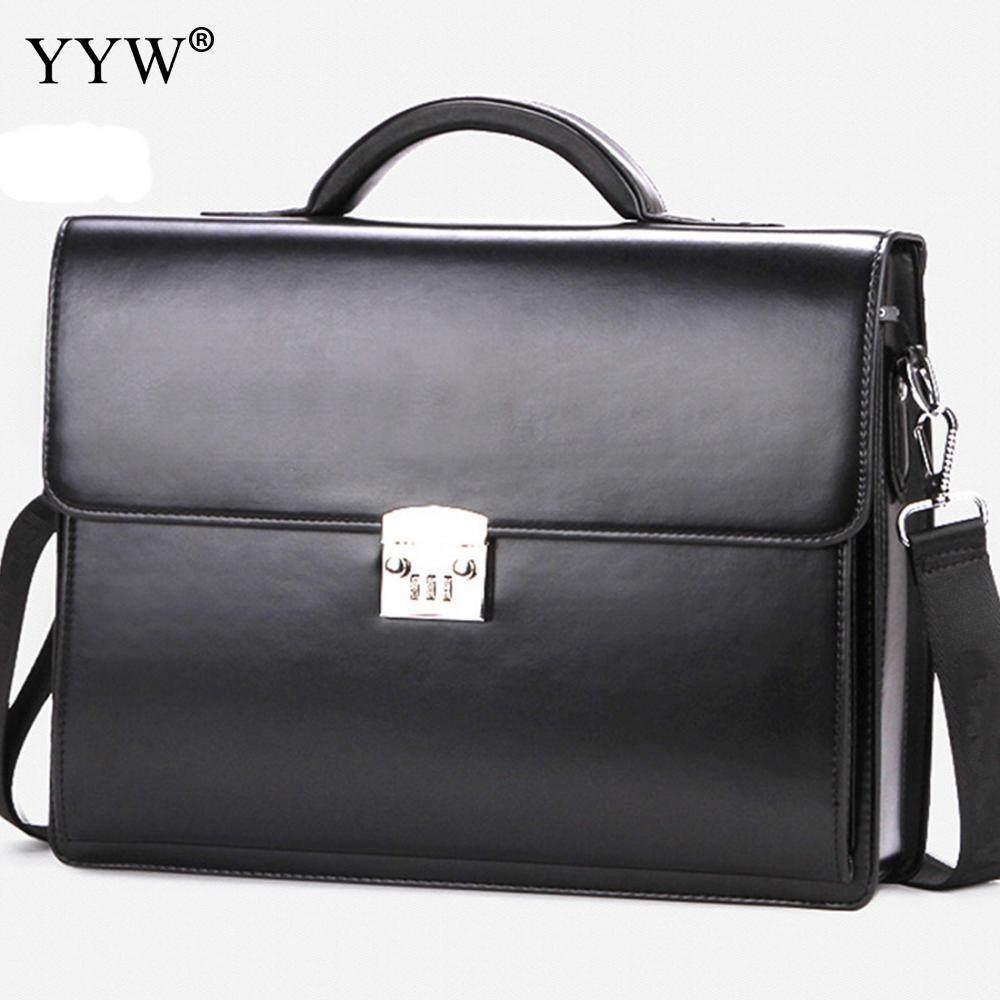 7b9e4deaac5 Business Male Bag Men s Executive Briefcase Black Portfolio Tote Bags for  Men Synthetic Leather Handbag A