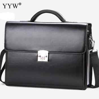 Business Male Bag Men's Executive Briefcase Black Portfolio Tote Bags for Men Synthetic Leather Handbag A Case for Documents - DISCOUNT ITEM  16% OFF All Category